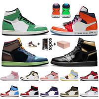 Nike Air Jordan Retro 1 1s Off White Travis Scott 1 Com Box Mulheres Homens JUMPMAN 2020 Basquete sapatos de alta OG Bio Corte do SEM MEDO Trainers Sapatilhas