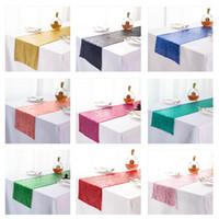 Tavoli a colori solidi Bandiera Paillettes Ornamenti Tavolo Runner Fashion Babysbreath Versione completa Tovaglia Forniture da sposa 10 5XN K2