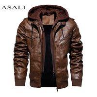 남자 후드 재킷과 코트 가을 겨울 따뜻한 캐주얼 가죽 재킷 PU 코트 슬림 피트 겉옷 남성 지퍼 Hoody Sportswear 201114