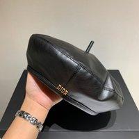 Cool Woman Designer Beanie Черный Кожа Бизнес Женщины Beanie Высокое Качество Мода PROM Формальная Роскошная Леди Шляпа