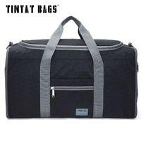 Tinyat الذكور الرجال حقيبة سفر قابلة للطي حقيبة بروتابلي رخوة النساء حمل ماء النايلون عارضة السفر القماش الخشن حقيبة سوداء الأمتعة T-306