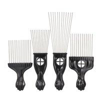 4pcs peigne noir réglée en métal afro cheveux style peigne cheveux bouclés cheveux black costume acier aiguille peigne outils de coiffure