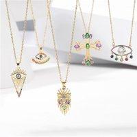 Colares de pingente Comprar moda ouro colar de cadeia para mulheres homens de luxo maus olho cross leão lagosta cristal cz jóias presente1