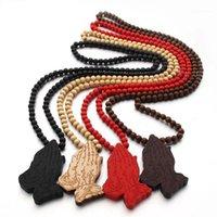 Ketten Gute Holz Hip Hop Beten Hand 4 Farben Gemischte Mode GOODWOOD Halskette Großhandel1