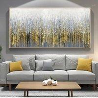 Abstrait mur peinture sur toile Art moderne Photos décoratives pour salon Wall Lienzos Cuadros Decorativos Golden Handmade1