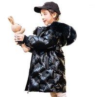 Cappotto cappotto per bambini ragazze tuta sportiva bambini giacca invernale lucido grande pelliccia con cappuccio cappotti addensanti stile lungo snowsuits tuta da neve1