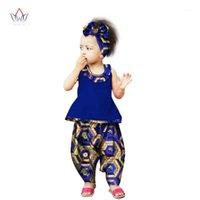 Etnik Giyim BRW Gelen Afrika Pantolon Setleri Çocuklar için Dashiki Sevimli Bazin Riche Tatlı Kızın Giysileri WYT1031