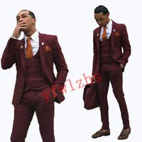 New Style Two Buttons Handsome Notch Lapel Groom Tuxedos Men Suits Wedding Prom Dinner Best Man Blazer(Jacket+Pants+Tie+Vest) W657