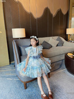 2021 nouvelles robes d'étées d'été robe filles pour bébé filles dentelle robe de fleurs enfants vêtements filles mode robe mignonne avec ceinture