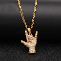Hip Hop Full CZ Zircon Pavimentado Bling Iced Out Love You Gesto Colgantes Collar para Hombres Rapper Jewelry Gold Color Regalo