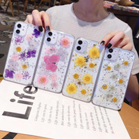 Moda Real Secado Pressed Flower Folha Soft TPU Case para iPhone 12 Pro Max mini 11 XR XS x 8 Plus Girassol Confetti Sequin Gel Cobertura