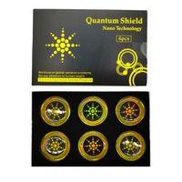 Квантовый щит против радиационной наклейки энергия антиэлектромагнитная волна сотовый телефон против радиационных гаджетов 6шт пакет серебристый и золотой DHL / FedEx