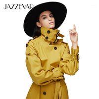 Jazzevar 2019 새로운 도착 가을 탑 트렌치 코트 여성 더블 브레스트 롱 겉옷 레이디 고품질 오버 코트 여성 90031