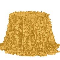 Tovaglia 5pc / lot 3d tondo petalo taffettà tovaglia tovaglia in oro banchetto tovaglie blu navy lavabile blu lavabile non ha bisogno di ferro