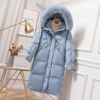 Fitaylor зима Женщины 90% утка вниз Длинные пальто Теплый снег Outwear Big Real Fur Hooded Jacket Horn Button Незакрепленная Синей Parkas