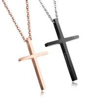 روز الذهب / أسود اللون الفولاذ المقاوم للصدأ الأزياء الدينية الصليب تصميم قلادة قلادة النساء الرجال المجوهرات