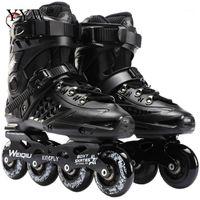 Skates in linea Skates Scarpe da hockey Pattini da sneakers Sneakers Blades Blades Donne Uomo per adulti Black White1