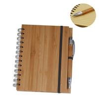 Natural Wood Bamboo Capa Notebook Espiral Notepad com caneta 70 folhas recicladas papel forrado enviar rápido