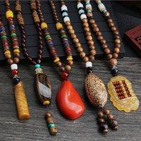 Retro étnica miçangas de madeira pingente handmade colar longo camisola cadeia n601