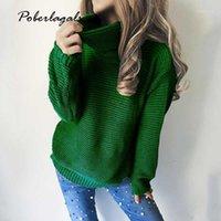 Suéteres de mujer otoño de manga larga suéter y jersey mujeres ocasional looseturtleneck knitwear cálido cable de invierno punto más tamaño Tops1