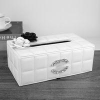 Alto grau luxurys diamante embutido carro caixa de couro caixa de sucção carro caixa europeia estilo criativo caixa de guardanapo
