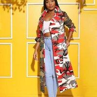 Trenchs de Femme Manteaux Femmes Courroie à manches longues Camouflage Imprimé Veste Manteau Hiver Vêtements Vêtements Vêtements Spring Fashion Retro Loler