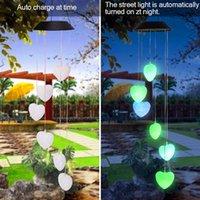 Bestes 2V 40mAH Sonnen Intelligente Lichtsteuerung Liebe-Art Wind Chime Korridor Dekoration hängende Lampen-Korn-Solar-Panel Schwarz-buntes Licht