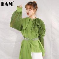 Женские блузки Рубашки [EAM] Женщины зеленые плиссированные нерегулярный большой размер длинной блузки отворотный рукав свободная рубашка мода весна осень 2021 1da218