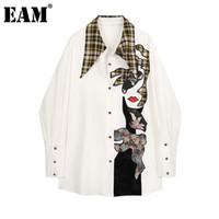 [EAM] Женщины бежевые скороговорки напечатаны большие размеры блузка новый отворот с длинным рукавом свободные подходящие рубашки мода прилив весна осень 201028