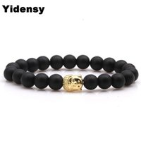 Yidensy Fashion Rose Gold Groodum Color Buddha Charms Braccialetto Braccialetti Braccialetti Black Round Occhiali Branca Bracciale per le donne Gioielli