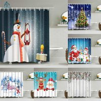 Cortinas de chuveiro Feliz Natal Papai Noel boneco de neve Cervos presentes Banheiro Frábico Frábico Poliéster à prova d'água