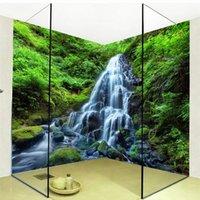 3d خلفيات شلالات الغابات الطبيعة المشهد صور الجدار ملصق جدارية pvc ذاتية اللصق للماء الحمام papel دي parede