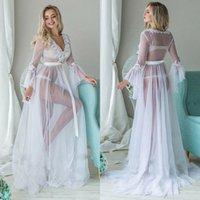 Dress da donna bianca sexy attraverso la lingerie di pizzo Pigiama Kimono Nightgown lungo abito abito
