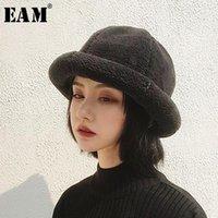 Trapper Şapkalar [EAM] 2021 Bahar Kadın Yüksek Kaliteli Şık Katı Altı Renkler Sıcak Tutun Yumuşak Kalınlaşma Kampaniform Şapka Tüm Maç LI2351