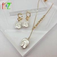 Серьги ожерелье оптомF.j4z 2021 Trend Trend нерегулярные жемчужные ожерелья для женщин барокко смоделированные подвески ювелирные изделия Рождество