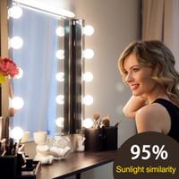 LED 12 V Makyaj Aynası Ampul Hollywood Vanity Işıkları Kademesiz Dim Duvar Lambası 6 10 14Bulbs Kiti Soyunma Masası Toptan