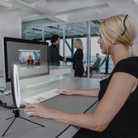8 polegada diâmetro 20cm Live preenchimento luz desktop tripé 13w 5v 84led 2835 lâmpada lâmpada luzes brancas conexão usb luz anel