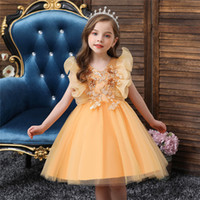 Embroidery One-Shoulder Dress for Children Princess Formal Dresses Flower Kids Wedding Evening Prom Gown Girls Christmas Party F1130