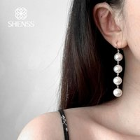 SHENSS Shell Pearl Earrings for Women Classic 925 Sterling Silver Jewelry Fashion Style 10mm pearl