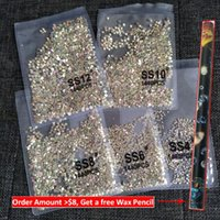 1440pcs Flatback Nail Crystals Rhinestones for Nails 3D Nail Art Decorations SS3-SS12 DIY Glass Gems Stones AB Clear Rose Gold