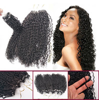 """Indian Brailian Virgin Remy Human Hair Micro Link Loop Extensiones de cabello Afro Kinky Curly Micro Anillo Extensión de cabello Natural Color Negro 14-26 """""""