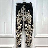 20 Son Bandaj İpleri Dantel Up El Yapımı Yüksek Sokak Cep Çok Seviye Elastik Bel Uzun Pantolon Chic Tarzı Kadın Pantolon Q0112