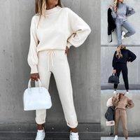 Kancool Women Solid Lantern Sleeve Top Pockets Pastel de diseño Pantalones Set Set Casual Señoras Dos piezas Set Tacksuit Velvet Plus