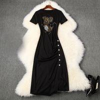 2020 Bahar Yaz Kısa Kollu Yuvarlak Boyun Siyah Karikatür Fare Sıcak Sondaj Draped Düğmeler Orta Buzağı Elbise Zarif Günlük Elbiseler LM26T10852
