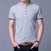 Polos de los hombres 2021 Summer Mens Shirt de algodón puro manga corta Slim Fit Shirts Mandarin Cuello Camisas Casuales1