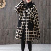 Johnature Women Plaid Yellow Vintage Parkas Irregular Hooded Coats Autumn New Button Pockets Female Chinese Style Parkas 201211