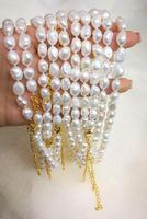 Chokers 10 adet / grup 9-10mm Beyaz Barok Inci Gerdanlık Kolye Altın Toka 35 cm + 7 cm Zincir 14- 17 '' Gerçek Tatlısu Kadınlar Jewelry1