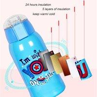500 ml de dibujos animados de la temperatura inteligente de la temperatura THERMOS THERMABLE PRENSA PORTÁTIDO Estilo de la paja Botella de agua Mantenga cálido frío 24 horas para el bebé LJ201218