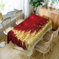 Tabela Pano Customizável Toalha de Tablecloth 3D Dourado Árvore de Natal Ano Dustproof Polyester Algodão Capa Retangular