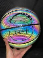 Basquete luminoso hologinoso 3M refletem luz de basquete preto PU couro de couro de couro ao ar livre 7 líquido + inflator + agulha